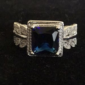 STAMPED 925 BLUE SAPPHIRE with LEAF DETAILS RING